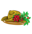 Christmas cowboy hat and holiday elements vector image
