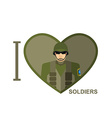 I love soldier Military man in shape of a heart vector image