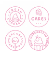 Bakery cake cafe badges vector image