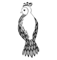 black-and-white bird in floral style vector image