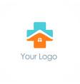 cross medic house hospital logo vector image