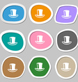 cylinder hat icon symbols Multicolored paper vector image