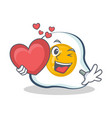 fried egg character cartoon with heart vector image