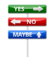 yes no maybe - three colorful traffic sign with vector image