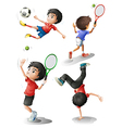Four boys playing different sports vector image