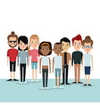 cartoon differents group people community culture vector image