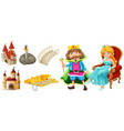 fairytale characters and other elements vector image vector image
