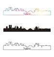 Tallinn skyline linear style with rainbow vector image vector image