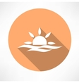sunset in the sea icon vector image vector image