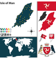 Isle of Man map world vector image vector image