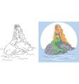 Mermaid sitting on stone vector image