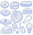Doodle of food various and drink vector image
