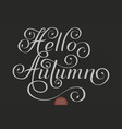 hand drawn lettering - hello autumn elegant vector image