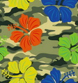 Hibiscus on the military background pattern vector image