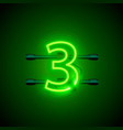 neon city font sign number 3 signboard three vector image