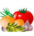 onion tomato garlic olive vector image