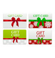 set of gift cards with realistic bow vector image