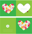 Heart is made of daisies on a green background vector image vector image