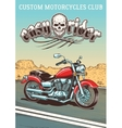 Hand-drawn vintage motorcycle on the background of vector image