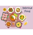 Hot meat dishes with fish snack and salads icon vector image