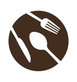 brown plate with cutlery icon image vector image