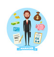 manager man with office business items vector image vector image