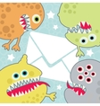 Virus monsters with letter banner vector image