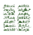 Shelves with fishing icons sketch for your design vector image vector image