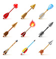 Bow arrows icons set vector image
