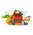 camping equipment summer vacation beach rest vector image