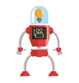 colorful red robot with lightbulb head icon vector image