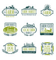 farm and organic food labels vintage vector image