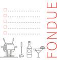 Fondue menu template restaurant cards vector image