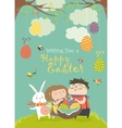 Happy children holding a basket of Easter eggs vector image
