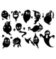 set of cute halloween monster ghost silhouettes vector image