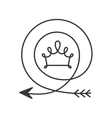 silhouette with arrow in shape circular and crown vector image