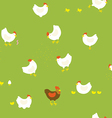 Chicken farm pattern with hens chickens and cock vector image