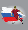 russia soccer player with flag a s a background vector image