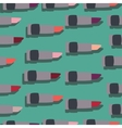 Seamless patterns with flat lipsticks green vector image