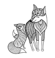 Hand drawn Fox with young child pattern for adult vector image