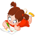 Little girl drawing vector image