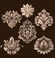 set of damask ornamental elements elegant vector image