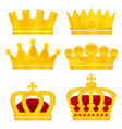 set of gold crowns on white background vector image