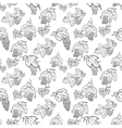 doodle seamless pattern with grape and leaves vector image