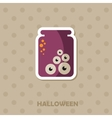 Eye glass jar icon Halloween sticker vector image