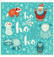 Greeting Holiday card with yeti raccoon santa vector image vector image