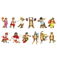 set of cute beavers sport vector image