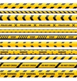 yellow plastic caution tape or warning set vector image