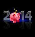new year 2014 metal numerals with piggy bank vector image vector image