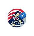 American Patriot Holding Brandish USA Flag Circle vector image
